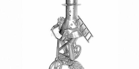 Kominiarz na rowerze metalowa figurka
