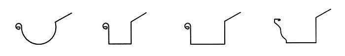 Rynny wiszące: a) półokrągła, b) kwadratowa, c) prostokątna, d) profilowana